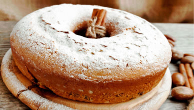 ricotta cheese, hazelnuts and cinnamon cake